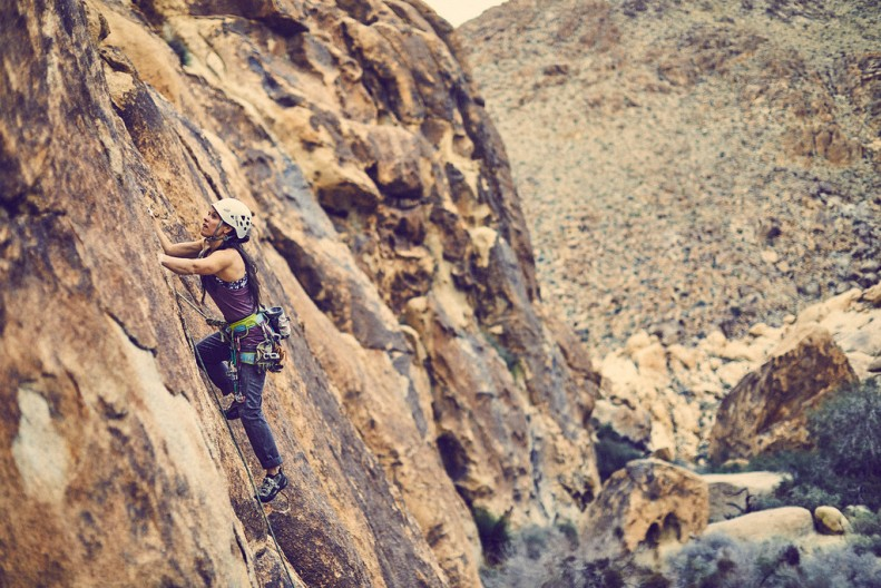 Sara climbing in Joshua Tree. Photo: Clayton Boyd.